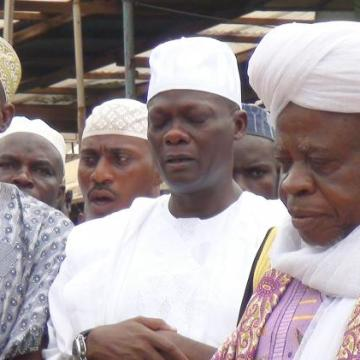 Senator Teslim Folarin (second right) together with Islamic clerics at his mother's burial in Ibadan recently.