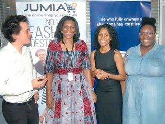From left: Senior Vice President, Vendor Management, Jumia Nigeria, Mr Thomas Simonet; Chief Executive Officer, Mrs Juliet Anammah, Head of Marketing, Simone Bartlett and the Head of Customer Operations, Chidinma Ifepe, at the Jumia Nigeria Facility Tour and Management Session in Lagos, last week.
