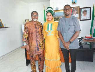 The Director General, Nigerian Tourism Development Corporation (NTDC) Dr (Mrs) Sally Uwechue-Mbanefo (middle), flanked by Film Director/Producer, Mahmood Ali-Balogun (left) and Chief Executive Officer, Black Power Production, Odera Ozoka,  during a courtesy visit to the Director General to  seek collaboration in shooting movies at tourist sites to boost Nigerian tourism, held at the corporat 0 headquarters of the corporation, in  Abuja recently.