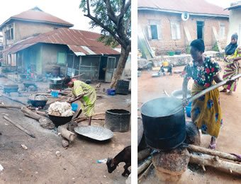 A soap maker about to remove already formed soap from the fire, left and Iya Oyo stirring soap to mould it together.