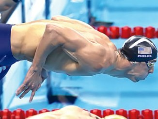 Phelps in action at Rio 2016.  Inset: Proudly displays his 22nd Olympic gold.