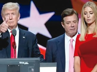 Donald Trump with Paul Manafort and Mr Trump's daughter Ivanka at the Republican National Convention. PHOTO: REUTERS