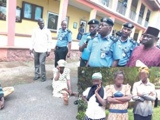 The Ogun State Commissioner of Police, Mr Hamed Ilyasu (third right) with other police officers while showing the suspect, Mrs Idowu Olupinla (sitting), to journalists. Inset are the victims. Photo: Oluwatoyin Malik
