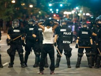 Four police officers were injured in the latest protests. PHOTO: GETTY IMAGES