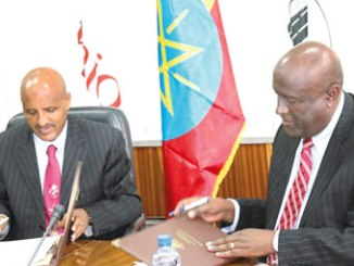 Mr Tewolde GebreMariam, Group CEO Ethiopian Airlines signing the MoU