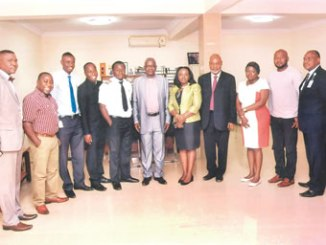 Professor Olufemi Onabajo (sixth from left); Dr (Mrs) Oyebola Ayeni and other attendees of the Space Tourism Conference.