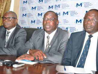 From left, Chairman, Electoral Committee, Mr Oladele Adeola; President/ Chairman of Council, Mr Ganiyu Koledoye and Registrar, Mr Sidney Ogodo, all of National Institute of Marketing of Nigeria (NIMN), at a press briefing to announce the institute's forthcoming council elections in Lagos, recently. Photo: Sylvester Okoruwa.
