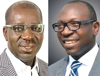 Obaseki, left and Ize-Iyamu