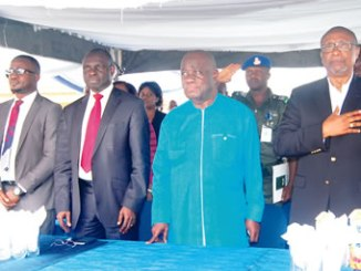 From left, Head, Enterprise Business Team /IT Business, Samsung Electronics West Africa, Mr Anu Rotimi Agboola;  Commissioner for Education, Akwa Ibom State, Mr Aniekan Akpan; Deputy Governor, Akwa Ibom State, Mr Moses Ekpo and Chairman, BRACED Commission, Ambassador Joseph Keshi, at the recently-launched Smart School by Samsung in Uyo, Akwa Ibom State.