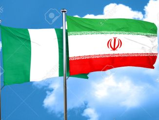 Nigeria flag with Iran flag, 3D rendering