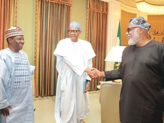 President Muhammadu Buhari receiving Plateau State governor, Mr Simon Lalong (right) and  the All Progressives Congress (APC) gubernatorial candidate for Ondo State, Rotimi Akeredolu, at the State House, on Monday.