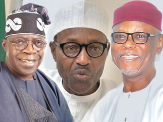 Bola Tinubu, APC National Leader, President Muhammadu Buhari and John Odigie-Oyegun, APC National chairman