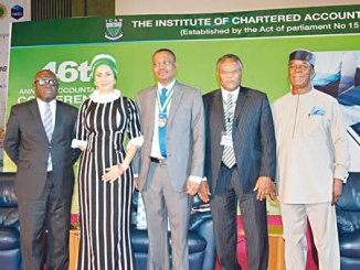 From left are, Director  of Finance & Accounts,  Representative of  the  honourable Minister of Solid Minerals,  Paul Boyo;  Director General ,  Nigerian  Tourism Development Corporation  (NTDC) Chief . Dr. ( Mrs.) Sally Uwechue – Mbanefo; President, Institute of  Chartered Accounts of  Nigeria, Deacon Titus Soetan;  Mr.  Emmanuel Ijewere and  former Minister of  Industry, Mr Charles Ugwuh during  the  46th  Annual Accountants'  Conference with  the theme: Accountability. Now. Nigeria held at International Conference Centre, Abuja  recently.