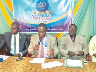 From left, Registrar, Barr. 'Toyin Obatosin; Provost, Dr. Abiodun Oladunjoye; Deputy Provost, Dr. Olusegun Ogunyanwo and Dean School of Health Information Management, Mr. Gbenga Owodunni at the media conference on the 40th anniversary of the Ogun State College of Health Technology, Ilese-Ijebu, Ogun State, on Wednesday.
