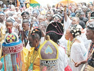 His Royal Highness, Oba Jimoh Oyetunji Olanipekun Larooye II, welcoming the indigenes and visitors to the sacred grove during the 2016 Osun-Osogbo Festival.