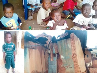 Children at Kuchingoro internal displaced persons (IDP) camp ssuffering from malnutrition. PHOTO: NAIJ.COM INSET 1: Back view of one of the dilapidated buildings being inhabited by some people in Elekuro Community. INSET 2: Waheed