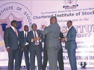 New president of the Chartered Institute of Stockbrokers Nigeria, Mr Oluwaseyi Emmanuel, being decorated by Mr Albert Okumagba, at the Investiture.