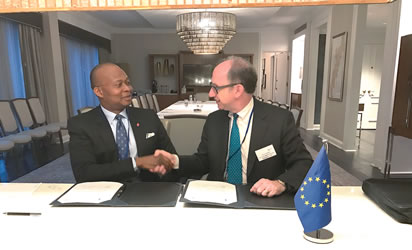 Kennedy Uzoka, Group Managing Director/CEO UBA PLC (left) and Ambrose Fayolle, Vice President of the European Investment Bank  during the agreement signing ceremony for 60 million euros facility from Europe International Bank (EIB) for on-lending to Nigerian businesses, in Washington DC during the world bank IMF meetings at the weekend.