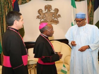 President Buhari receives the out going Ambassador of Holy See, H.E Archbishop Nasujja Apostolic Nuncio today at the State House in Abuja.