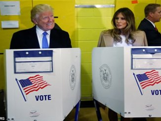 Donald Trump (left) and his wife Melania Trump (right) voted side-by-side before lunchtime in Manhattan at Public School 59.