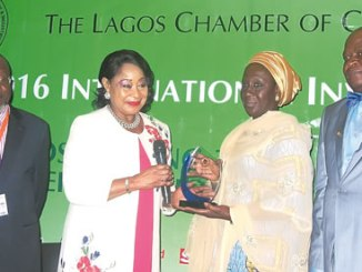 From Left: Vice President/Chairman, Trade Promotion Board, Lagos Chamber of Commerce and Industry (LCCI), Sola Oyetayo; President, Chief Mrs Nike Akande, Minister of State, Federal Ministry of Industry, Trade & Investment, Aisha Abubakar; and Commissioner, Lagos Ministry of Commerce, Industry and Cooperatives, Rotimi Ogunleye, at the 2016 LCCI International Investment Conference, in Lagos, on Wednesday. Photo: Sylvester Okoruwa.