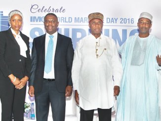 From right: Permanent Secretary, Federal Ministry of Transportation, Sabiu Zakari;  Minister of Transportation, Rotimi Amaechi; Director General of the Nigerian Maritime Administration and Safety Agency (NIMASA), Dr Dakuku Peterside and Managing Director of the Nigerian Ports Authority (NPA), Hadiza Bala Usman, during the 2016 World Maritime Day, in Lagos, recently.