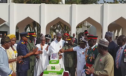 Image result for President Buhari celebrates 74th birthday inside Aso Villa