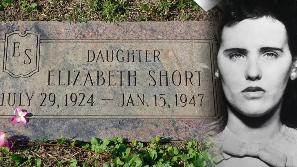 Photo Showing Elizabeth Short - The Black Dahlia - and Her Grave Stone