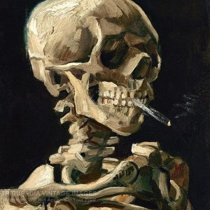 Skull of a Skeleton with a Burning Cigarette