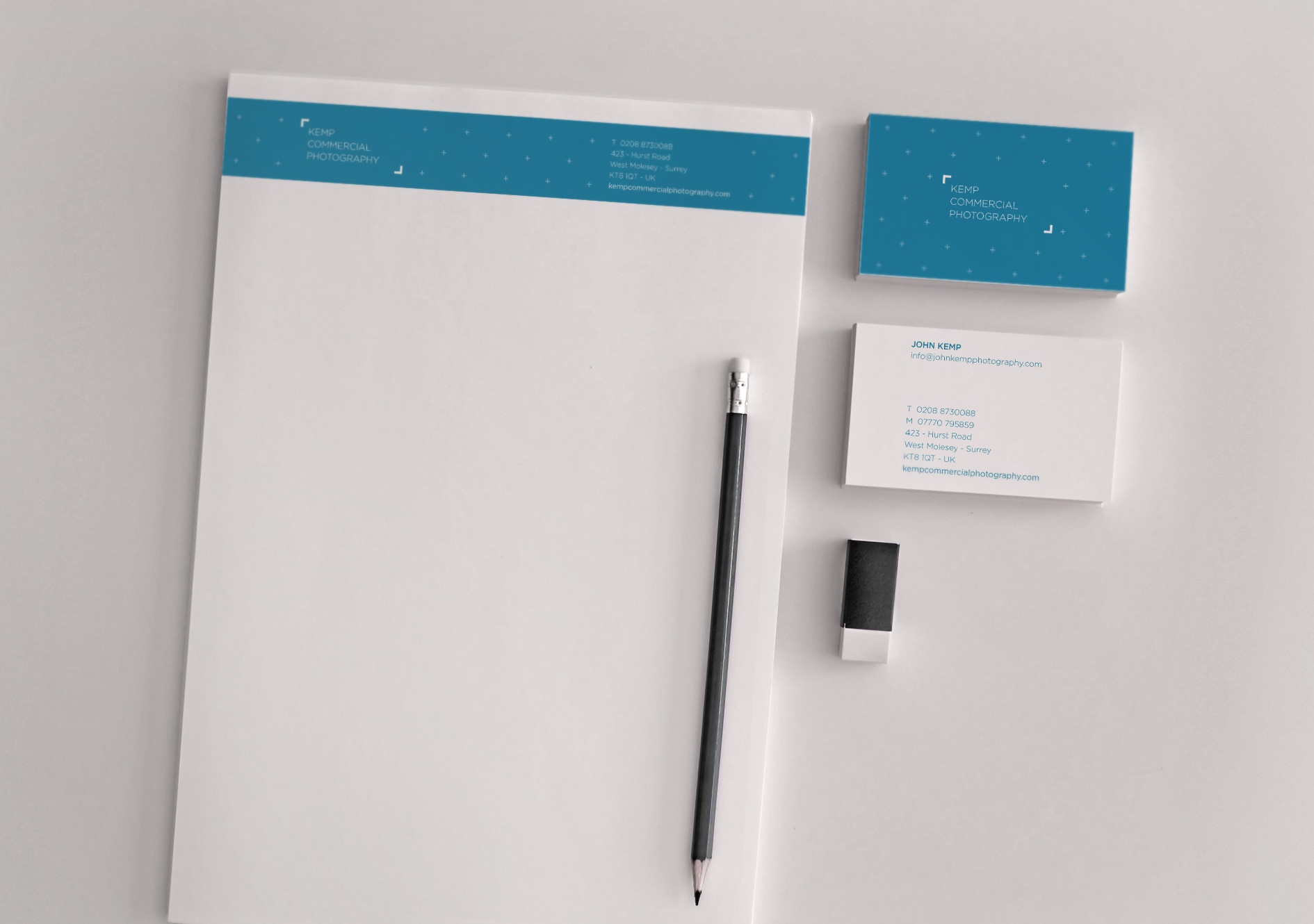 A photo of the stationery designed for Kemp Commercial Photography | Tribus Creative - stationery design for small business