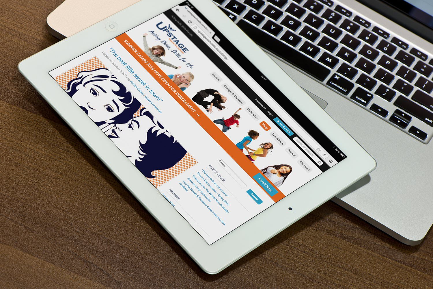 The Upstage website blog viewed on a tablet – Tribus Creative – brand communications for small business