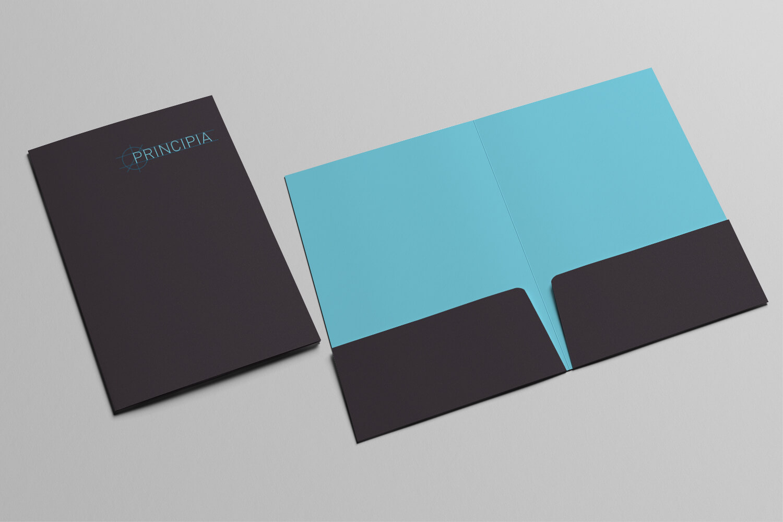 A photo of the A4 folder designed for the Principia Brand Identity