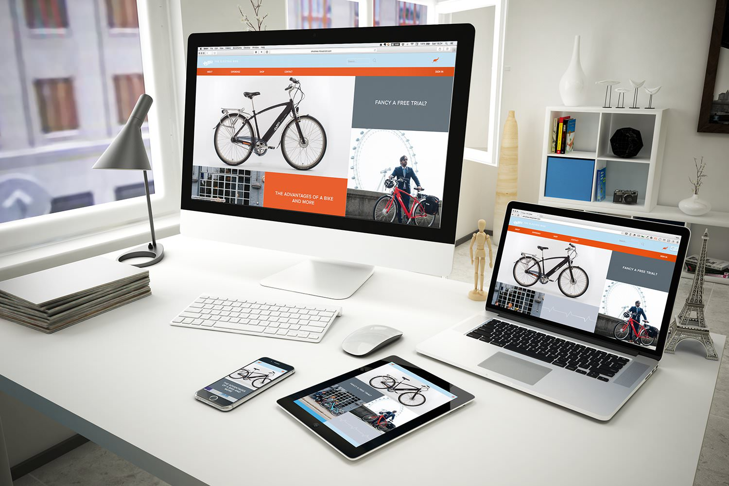 The Emu Bikes e-commerce website design displayed on a PC, laptop, tablet and smartphone – Tribus Creative – web design for small business
