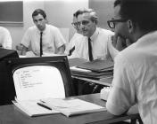 Doug using NLS for meeting support (1967)