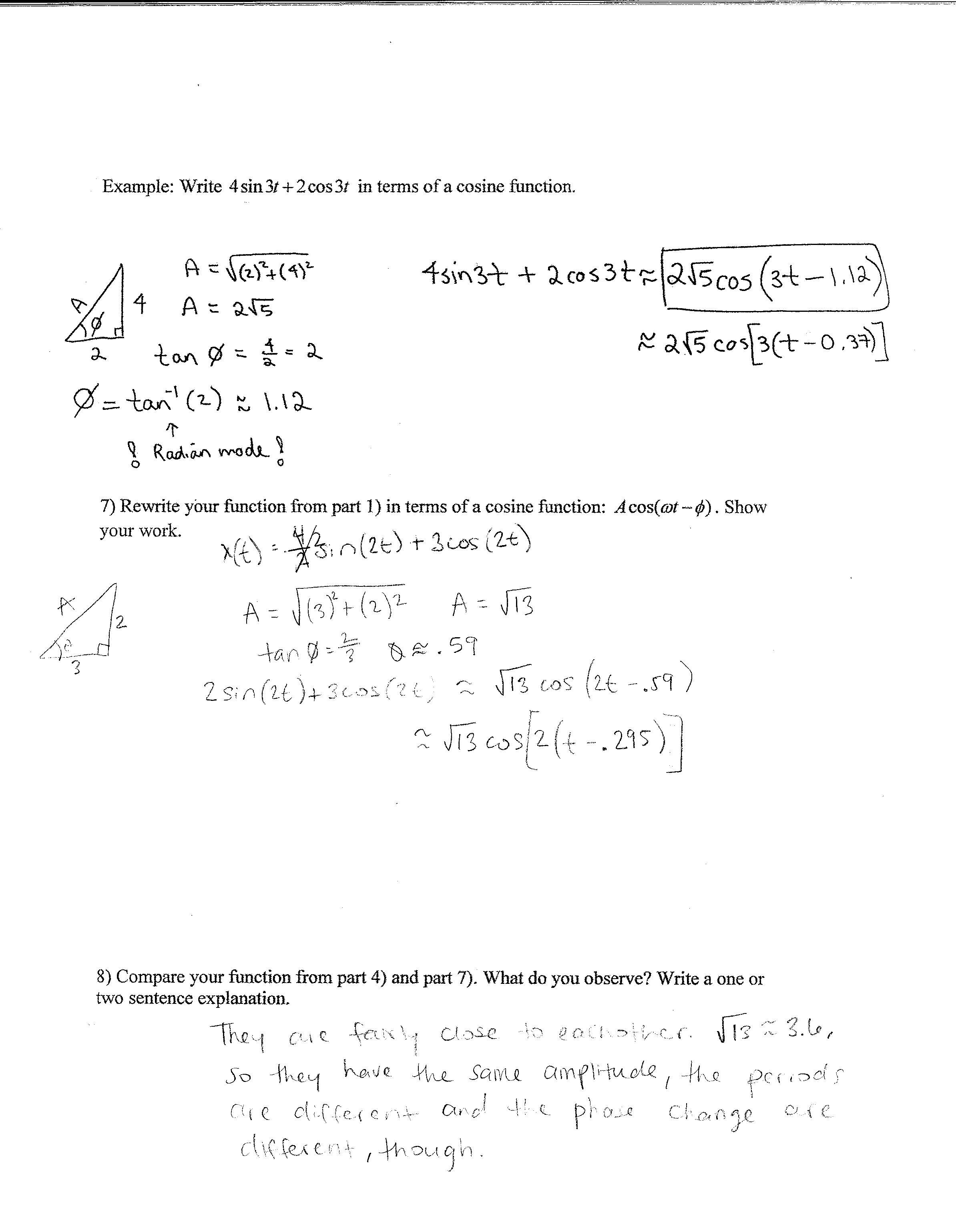 Math Worksheets Trigonometry