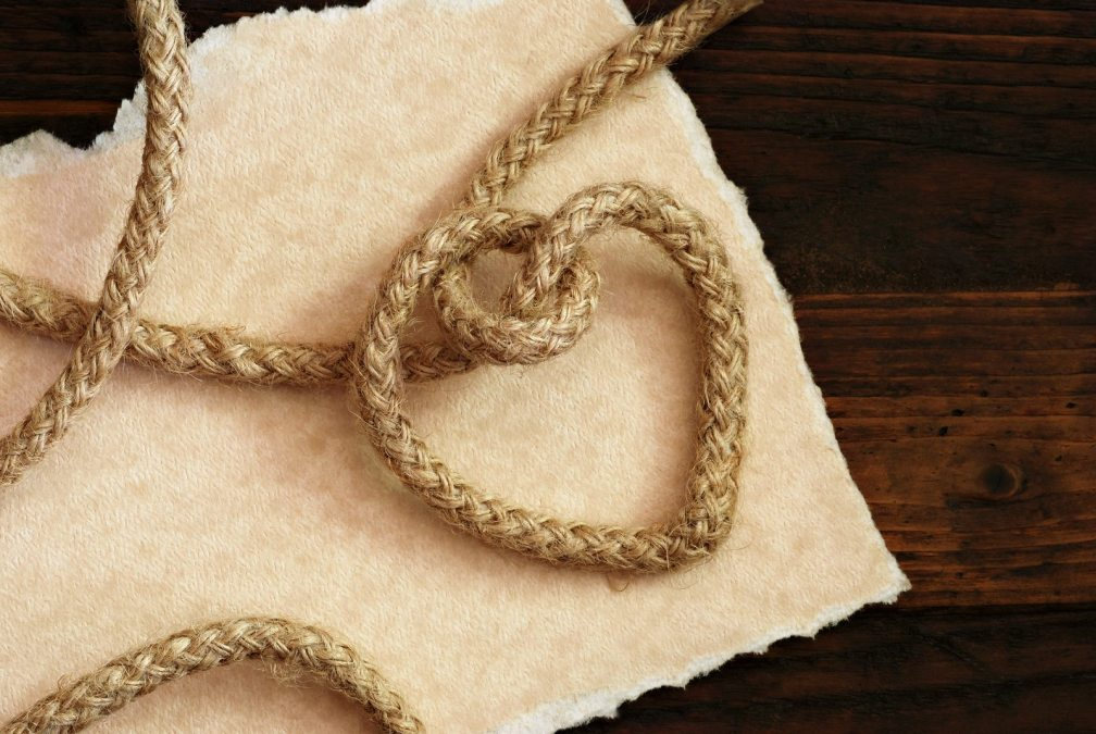 'Tying the knot' wedding invitation or save the date card. Rope