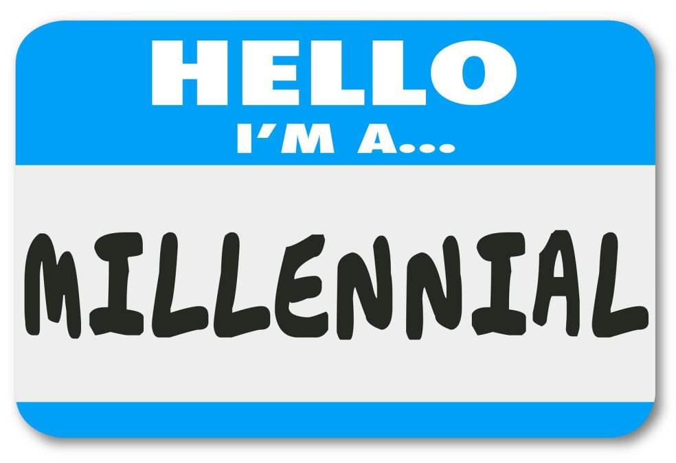 Hello I'm a Millennial words on a nametag or sticker to illustra