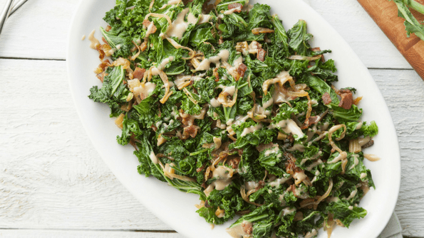 Recipe Of The Weekend- Kale Stems with Caramelized Onions and Bacon