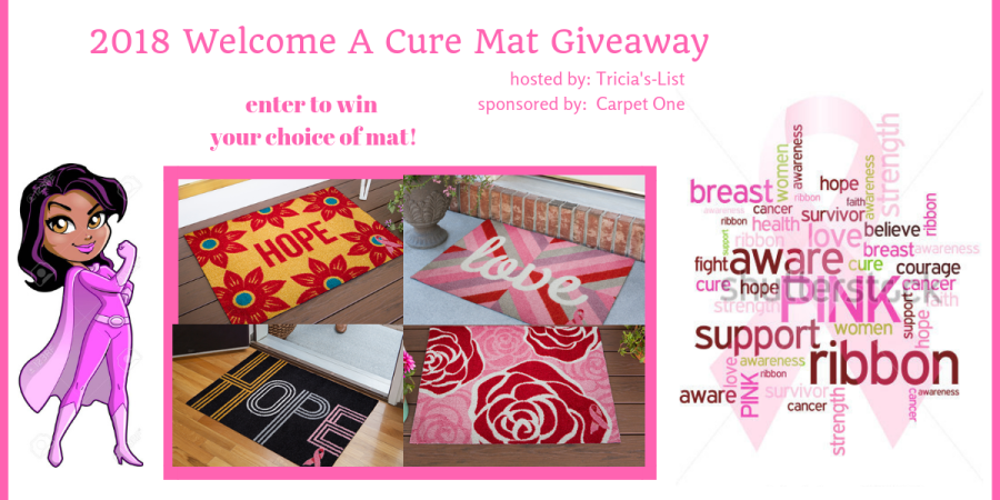 2018 Pink Ribbon Welcome A Cure Giveaway    Hosted By Carpet One