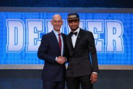 Ben Simmons poses with Commissioner Adam Silver after being drafted first overall by the Philadelphia 76ers in the first round of the 2016 NBA Draft at the Barclays Center on June 23, 2016 in the Brooklyn borough of New York City. NOTE TO USER: User expressly acknowledges and agrees that, by downloading and or using this photograph, User is consenting to the terms and conditions of the Getty Images License Agreement.