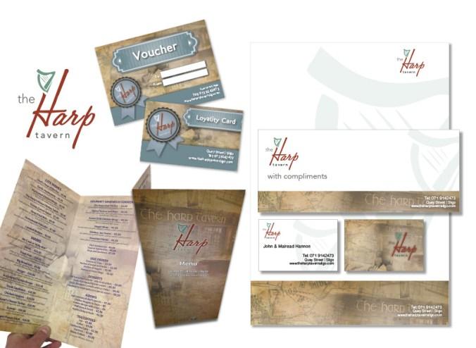 Harp Tavern, Sligo, Stationery, logo & Menu