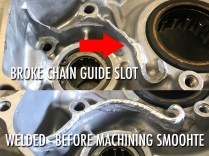 Repaired cases for chain guide slot