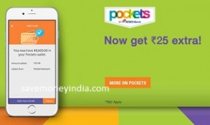 ICICI Bank Pockets Wallet Rs. 25 Cashback on Deposit of Rs. 250