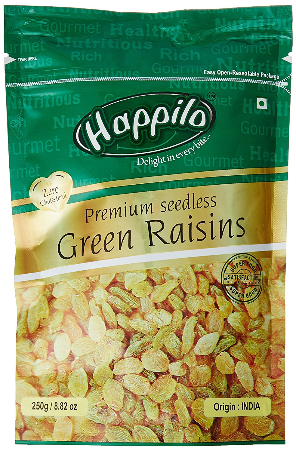 Happilo Premium Seedless Green Raisins, 250g