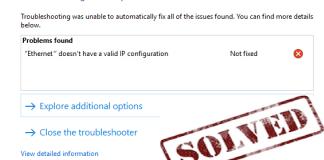 no valid ip configuration in windows 10