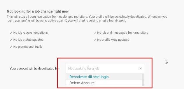 Delete naukri account permanently