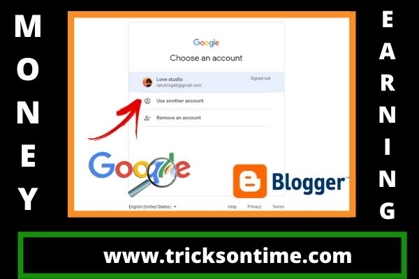 choose google account for creating blogger account