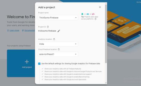 Google firebase console new project