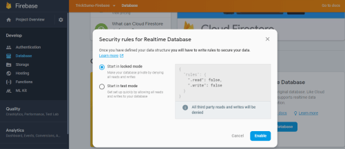 Security rules for Realtime Database