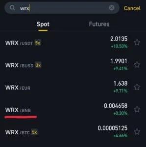 WRX/BNB